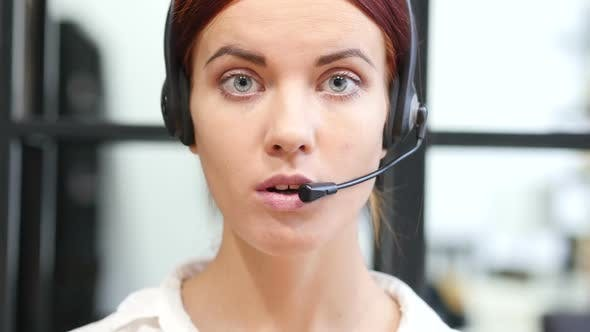 Thumbnail for Close Up, Talking On Headphone Female, Call Center