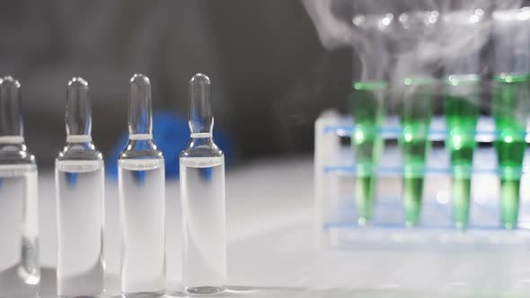 Evaporation Clubs Spread Around the Ampoules of Medicine