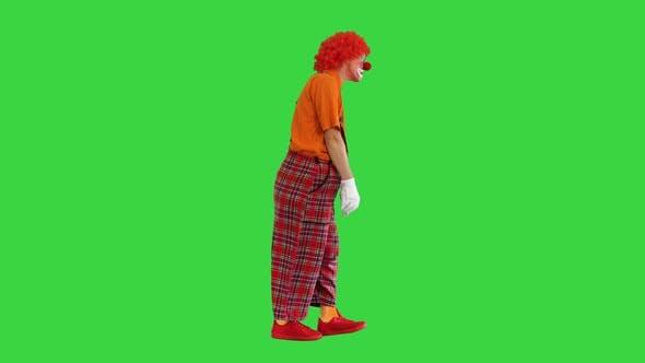 Sad Unhappy Clown Walking in a Funny Way on a Green Screen Chroma Key
