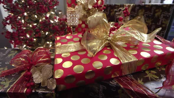 Neatly wrapped presents at a Holiday Christmas party