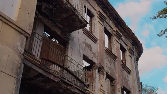 The Destroyed Building After the War. Close Up.