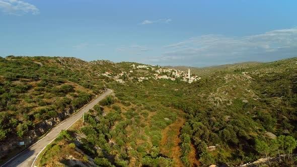 Thumbnail for Aerial view of traditional dalmatian village of Lozisca, Brac Island, Croatia.
