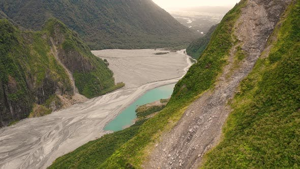 Thumbnail for Aerial view of scenic Fox Glacier at the mountain range, New Zealand.
