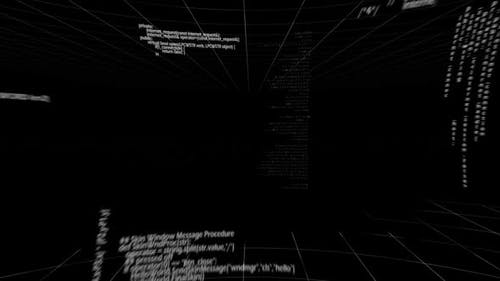 Computer codes moving against black screen