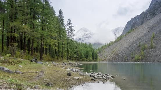 Thumbnail for Mountain Lake Timelapse at the Summer or Autumn Time. Wild Nature and Rural Mount Valley