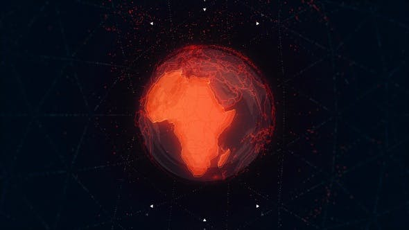 Thumbnail for Africa Continent on the Rotating Red Earth 4 K