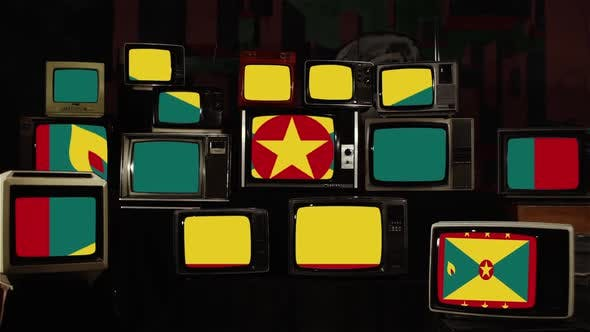 Grenada flag and Vintage Televisions.