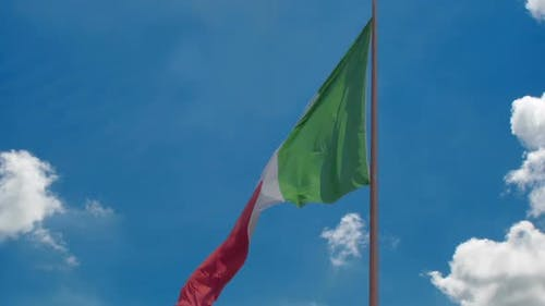 National Flag of Italy Flying in Wind, Blue Sky Background, Prosperous Country