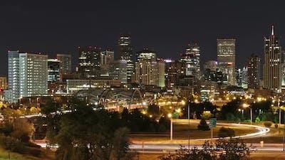 Downtown Denver at Night. Long Exposure Timelapse