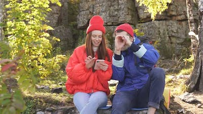 Couple Camping Active Romantic Couple in Love Traveling and Hiking