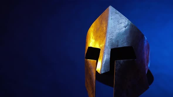 Spartan Head Protection Isolated on Blue