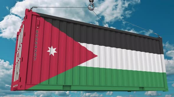 Thumbnail for Loading Cargo Container with Flag of Jordan