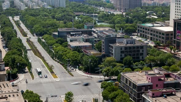 Thumbnail for Suzhou Business City Cityscape Aerial China Timelapse Pan Up