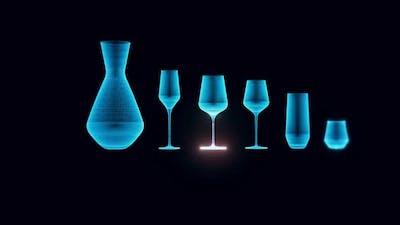 Glass Set Hologram Rotating 4k
