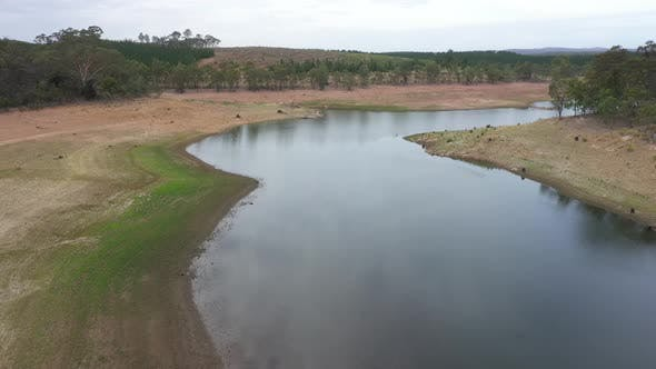 Thumbnail for Aerial footage of a large fresh water reservoir being challenged by drought in regional Australia