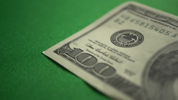 Thumbnail for One 100 Dollar Bill On Table Isolated On Chroma Key Green Screen Background