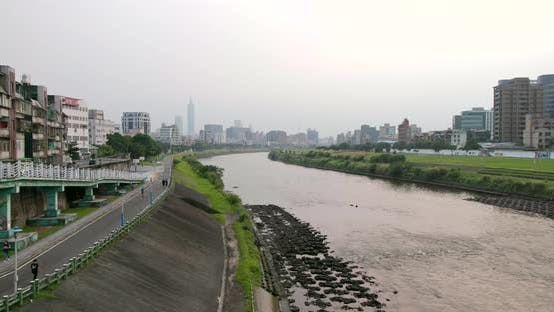 Thumbnail for Taipei city river side under air pollution
