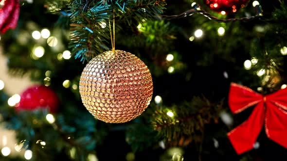 Thumbnail for Golden Christmas Ball or Decoration on Fir Tree
