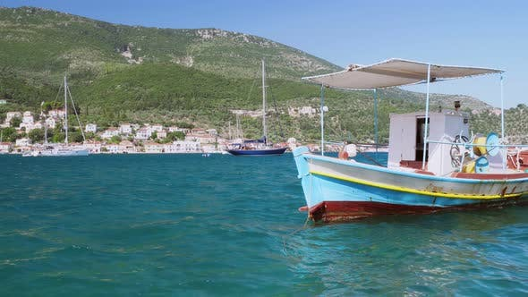 Video of Bobbing Boat in the Harbour. Greece Ithaki Island, Traditional Wooden Fishing Boats at