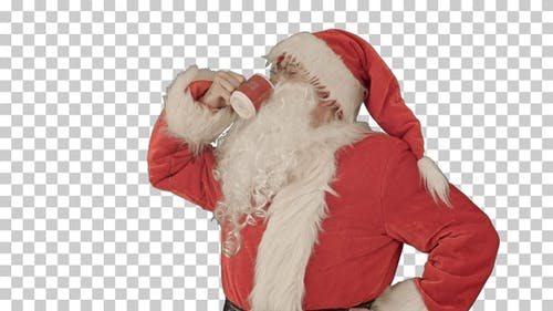 Santa drinks from a red cup, Alpha Channel