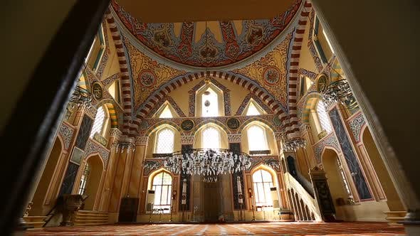 Thumbnail for Istanbul Ottoman Grand Kasimpasa Mosque Entering To Interior Hall Between Doors