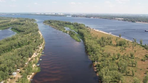 Aerial Landscape View on Volga River with Islands and Green Forest