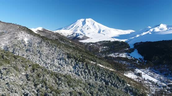 Thumbnail for Drone Birds Eye View Of Lonquimay Volcano And Corralco Ski Resort In Chile Andes Mountains