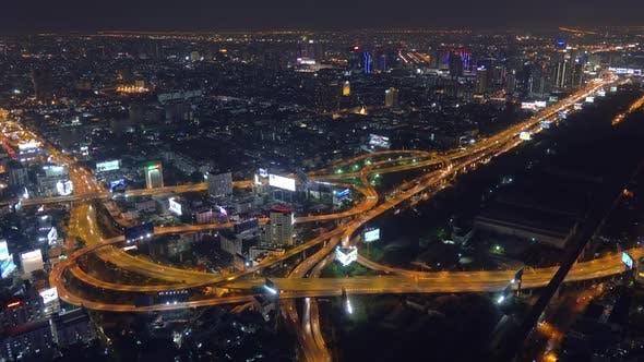 Thumbnail for Aerial View on Illuminated Bangkok City at Night
