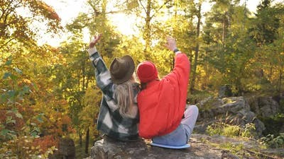 Caucasian Friends Enjoy Time on Mountains
