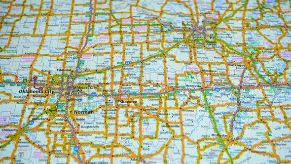 Thumbnail for Map Of Highways With Cities Of America State Of Oklahoma.