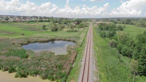 Wetland railroad. Railway