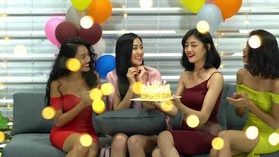 Group girl happy birthday