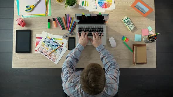 Thumbnail for Successful Interior Designer Working on Laptop and Earning Money, Business