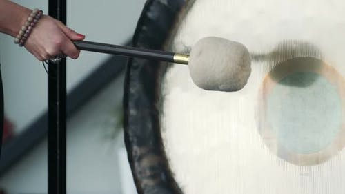Close Up Of Gong Hit