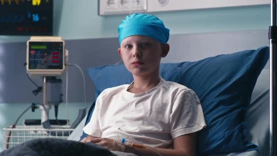 Boy in Ward of Oncology Clinic