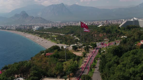 Thumbnail for Antalya City And Beach With Turkey And Antalya Flags Aerial View