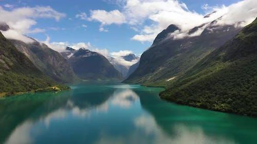 Beautiful Nature Norway Natural Landscape Lovatnet Lake.