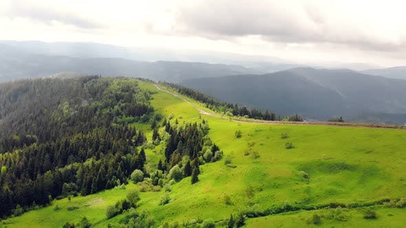 Thumbnail for Aerial Drone View: Fabulous View of the Carpathian Mountains in Ukraine, The Mountain Tops Are