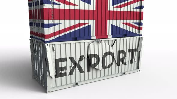 Cover Image for Container with Flag of Britain Breaks Container with EXPORT Text