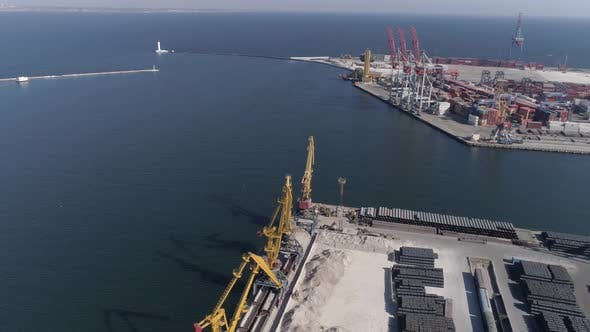 Thumbnail for Drone View on Sea Port Panorama with Containers and Lifting Cranes on Sea Waterfront