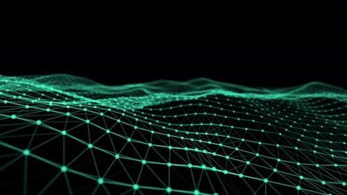 Glowing green mesh waves against black background