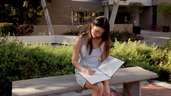 Asian female college student working on her homework