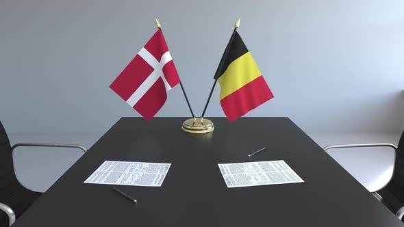 Thumbnail for Flags of Denmark and Belgium on the Table