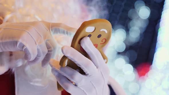 Santa Claus Uses Smartphone Closeup of Hands