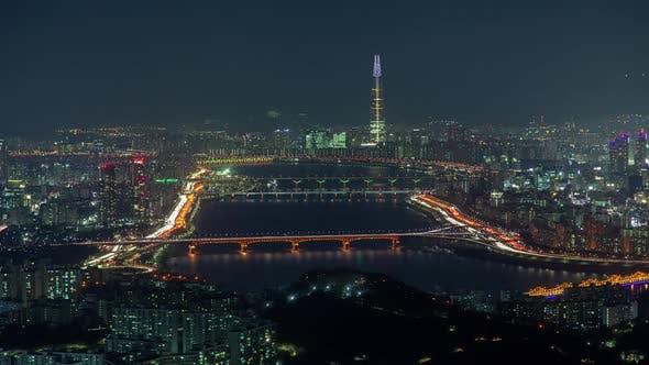 Thumbnail for Aerial Illumination Cityscape Korea, Seoul Timelapse