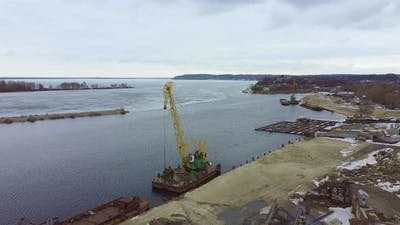 Drone View of River Industrial Port