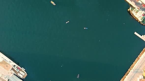 Thumbnail for Aerial view of boats anchored at pier, South Africa.