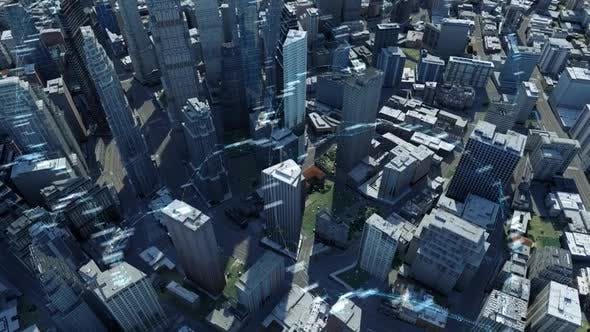 Thumbnail for City Buildings With Digital Data And Information 4K