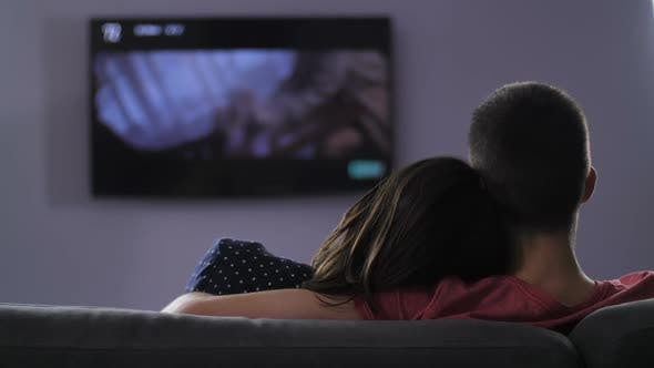Rear View of Couple Watching Television at Night