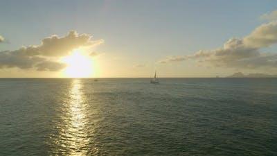 Sunlight falling on sea surface at sunset